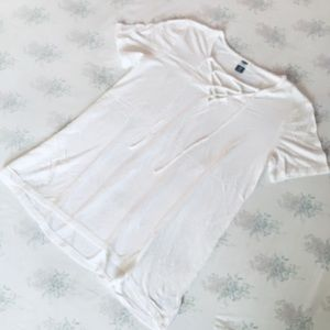Lace front white Tshirt